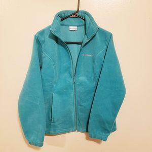 Columbia teal blue fleece sweater medium